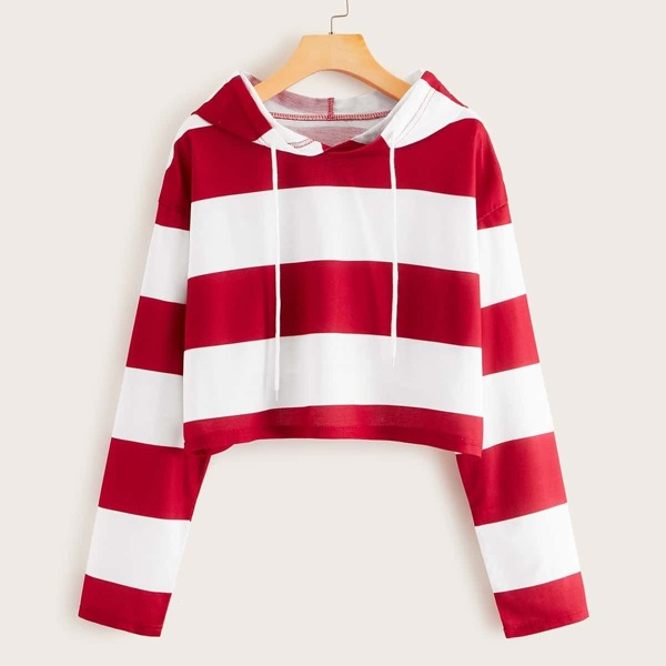 Two Tone Striped Drawstring Crop Hoodie, Red