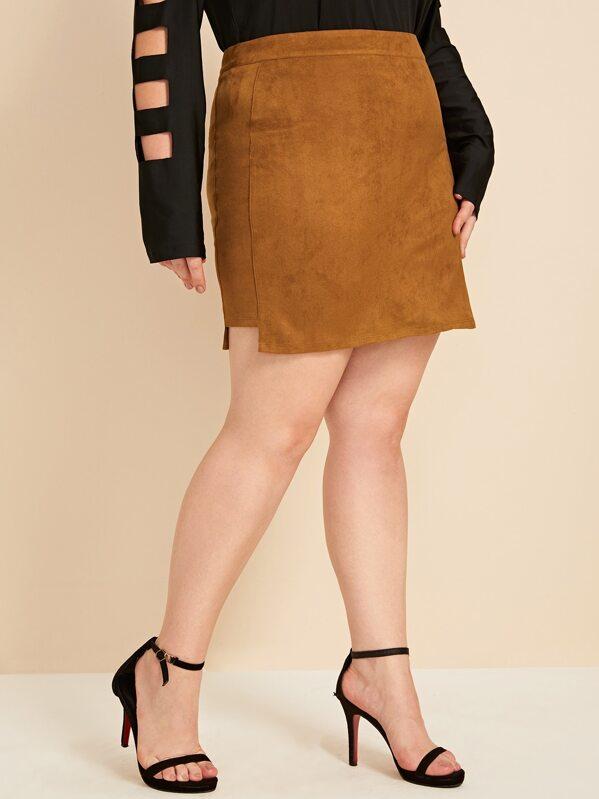 Plus Zip Back Suede Bodycon Skirt, Camel, Ella