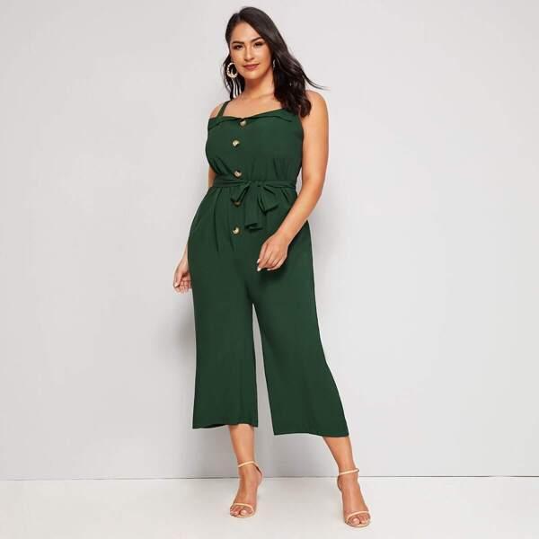 Plus Button Front Self Tie Low Back Jumpsuit, Green
