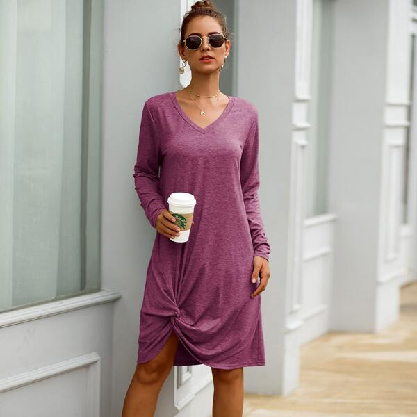 V-neck Twist Front Space Dye Tee Dress, Purple