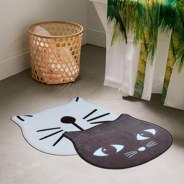 1pc Cartoon Cat Head Shaped Floor Mat, Multicolor