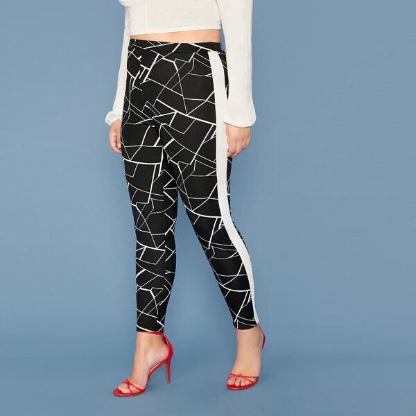 Plus Striped Side Geo Print Leggings, Black