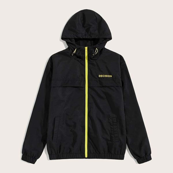 Men Zip Up Letter Print Windbreaker Hooded Jacket