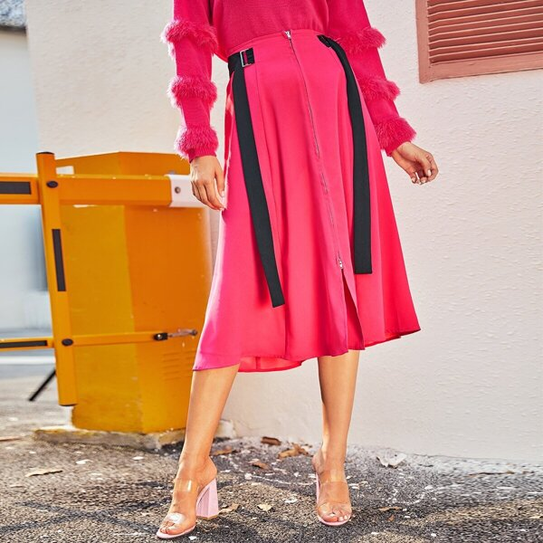 Neon Pink Zip Up Buckle Tape Detail Skirt, Pink bright