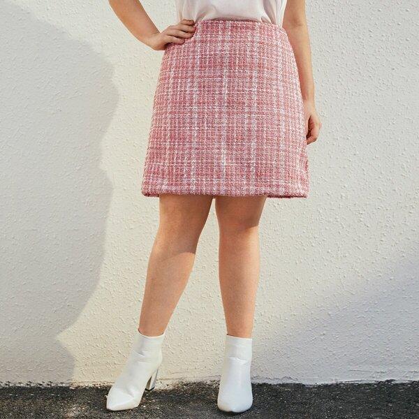 Plus Tweed Zip Back Straight Skirt