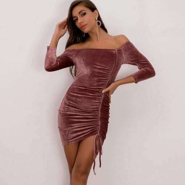 Joyfunear Drawstring Bardot Velvet Bodycon Dress, Burgundy