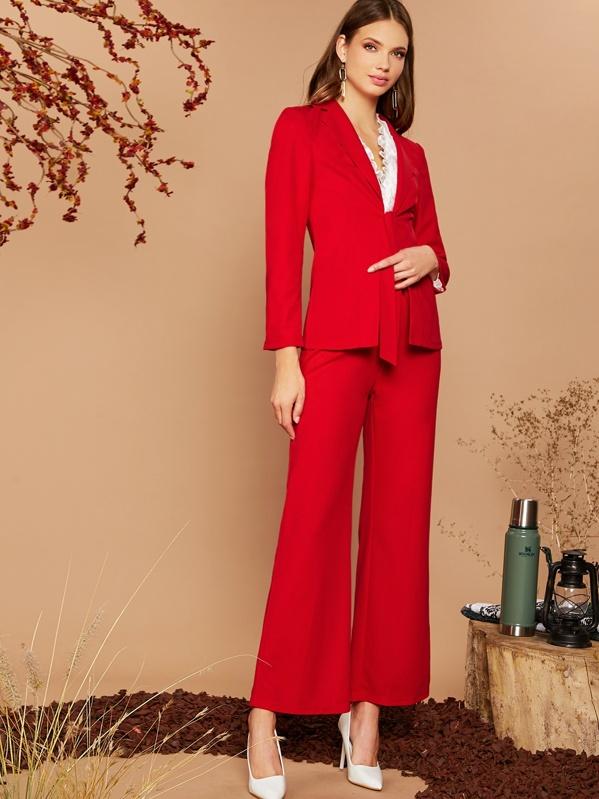 Notch Collar Tie Front Blazer & Flare Leg Pants Set, Red, Anja Petric