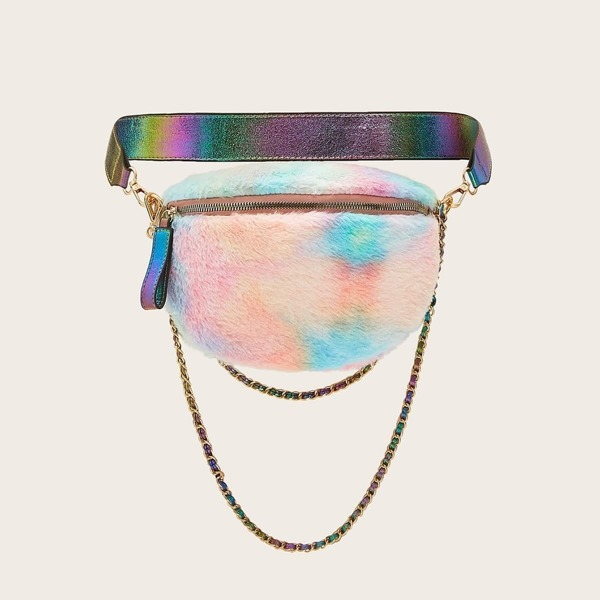Gradient Fluffy Fanny Pack With Chain