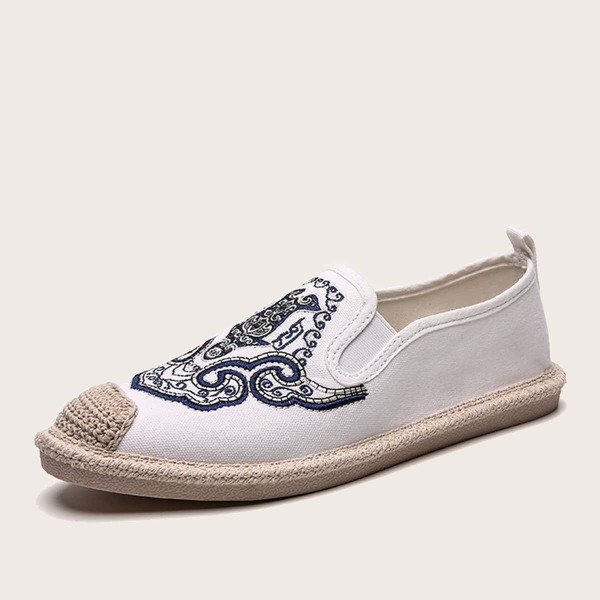 Men Cap Toe Embroidered Detail Loafers