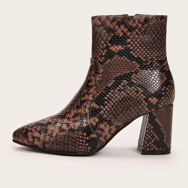 Point Toe Side Zip Snakeskin Chunky Boots, Brown