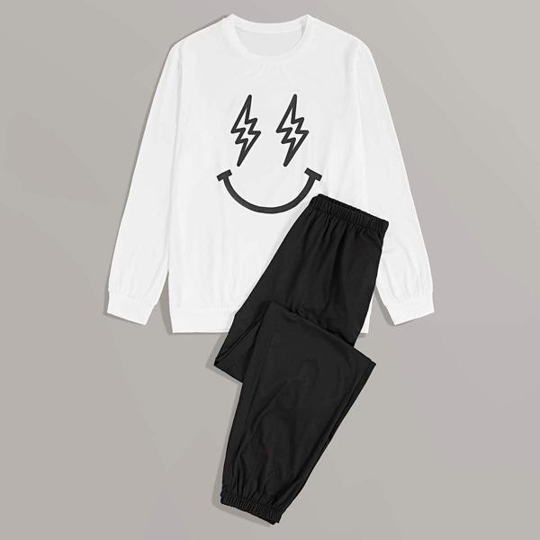 Men Graphic Print Sweatshirt & Pants PJ Sets, Black and white
