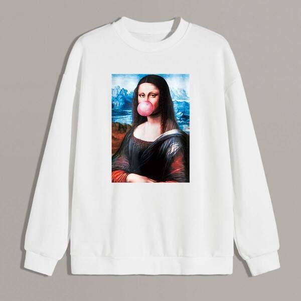 Men Figure Print Sweatshirt, White