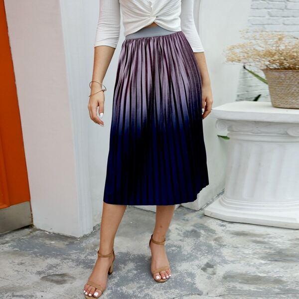 Pleated Elastic Waist Velvet Skirt