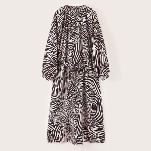 Zebra-stripe Balloon Sleeve Self Tie A-line Dress, Multicolor