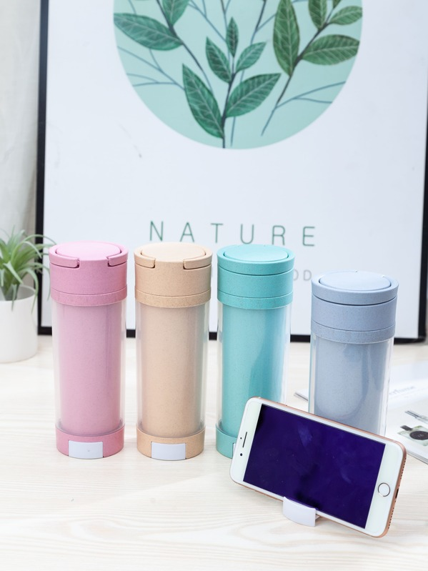 1pc Wheat Straw Water Bottle With Retractable Holder