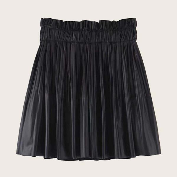 PU Paperbag Waist Mini Pleated Skirt