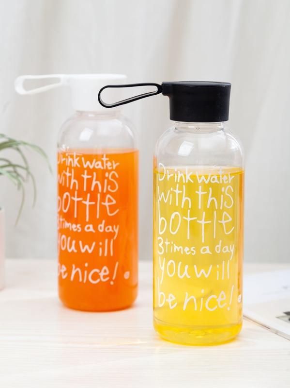 1pc Slogan Print Plastic Water Bottle