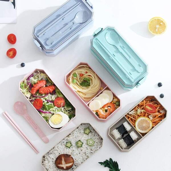 1pc Wheat Straw Double Layer Lunch Box With Cutlery