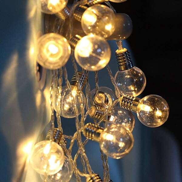 10pcs Globe Bulb String Light, Black