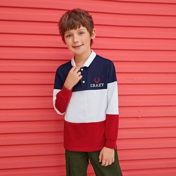 Boys Embroidery Detail Colorblock Polo Shirt