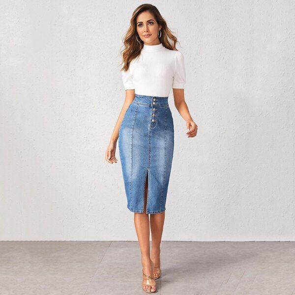 Button Fly Slit Hem Pencil Denim Skirt, Blue