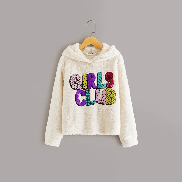 Girls Embroidered Slogan Sequin Detail Teddy Hoodie