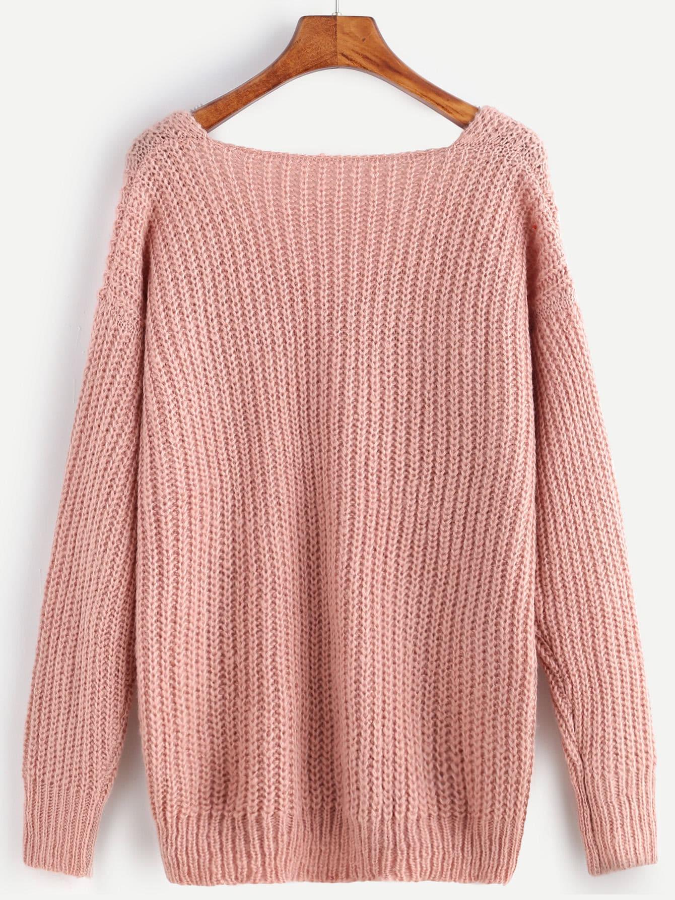 Pink Ribbed Knit V Neck Drop Shoulder SweaterFor Women-romwe