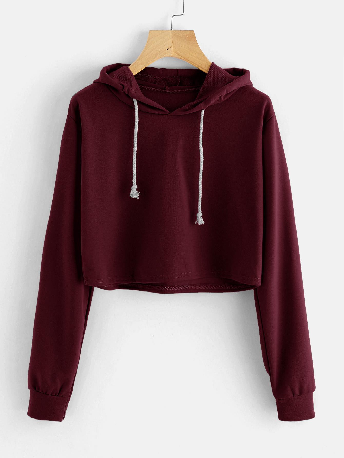 Drawstring Hooded Crop SweatshirtFor Women-romwe