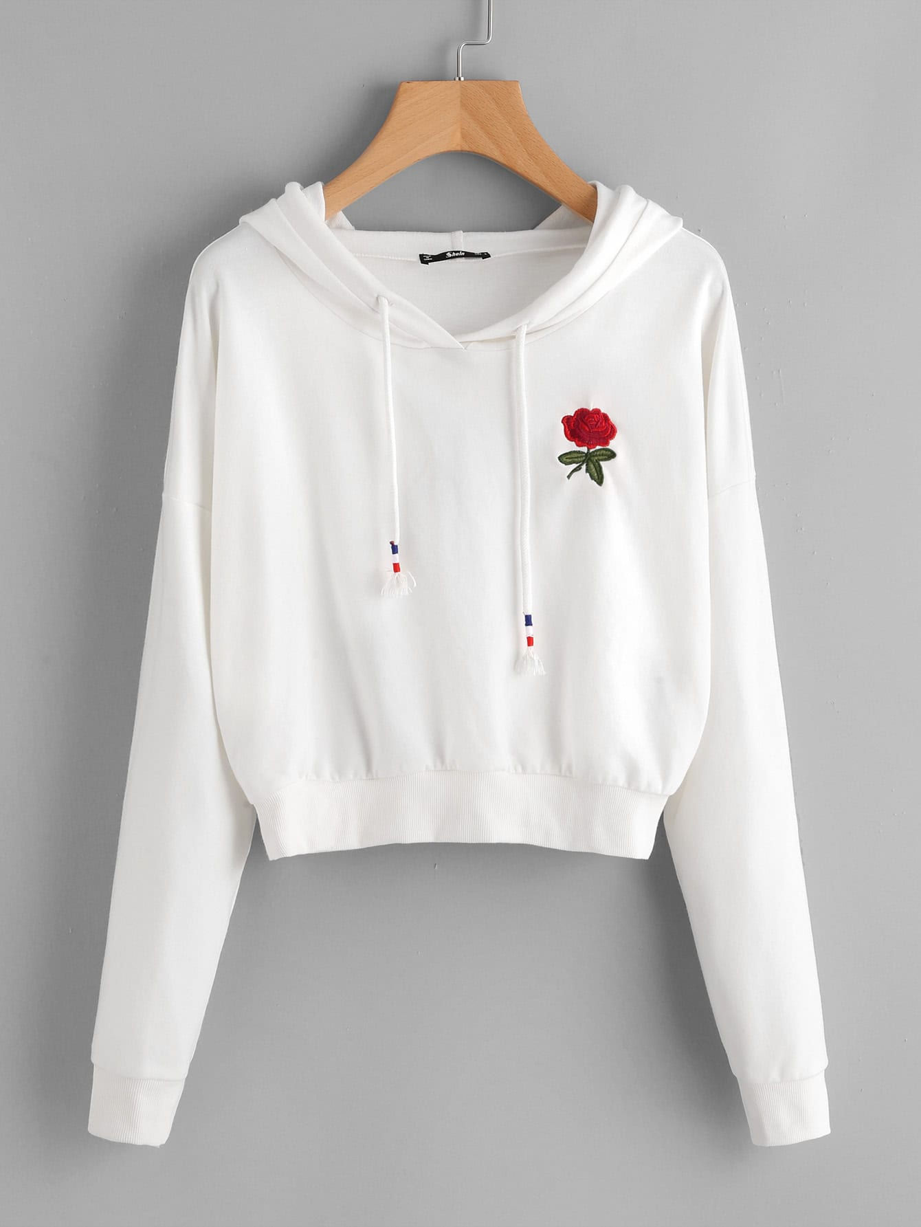 Drop Shoulder Rose Embroidered HoodieFor Women-romwe