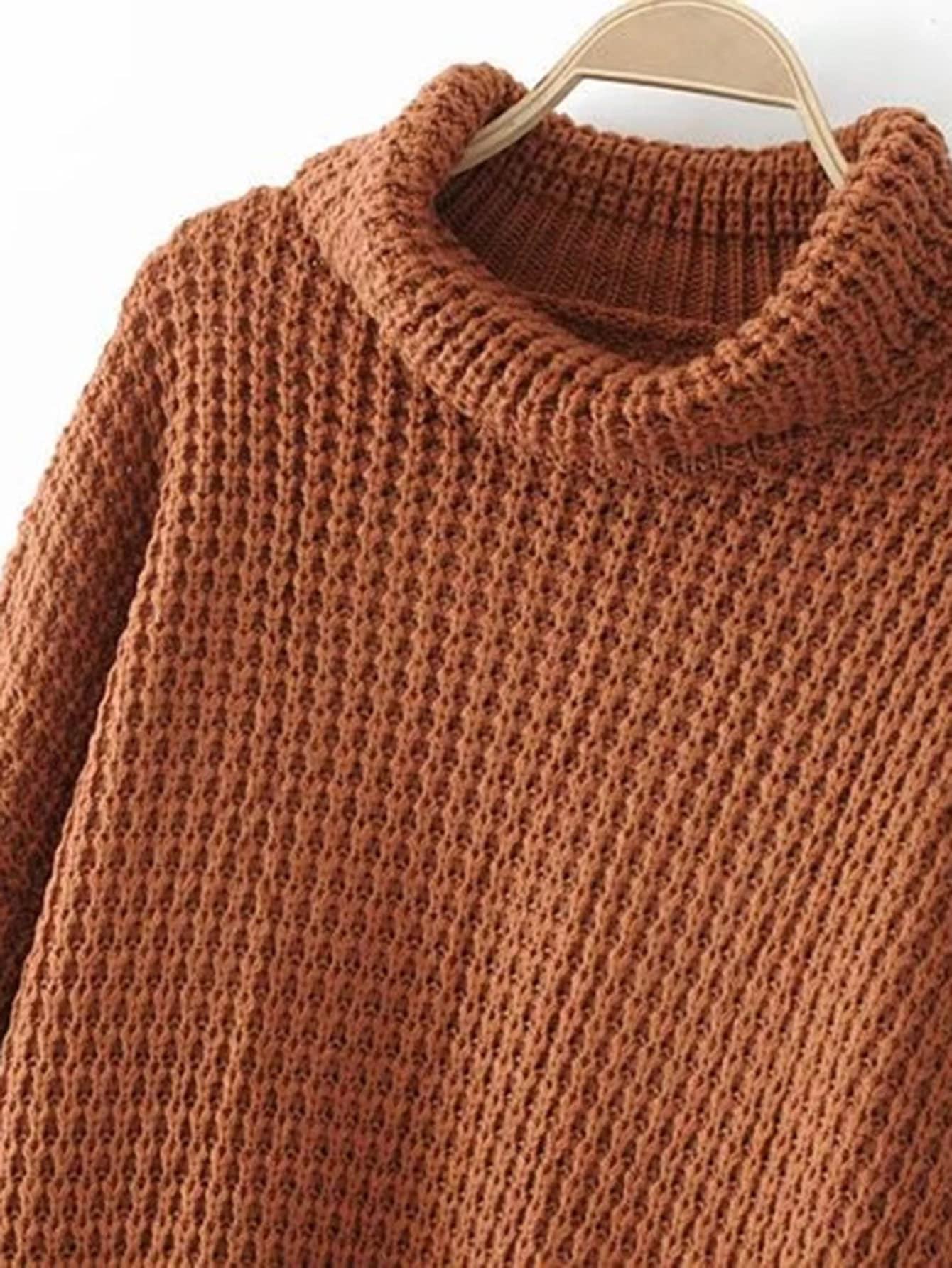 Turtleneck Waffle Knit SweaterFor Women-romwe