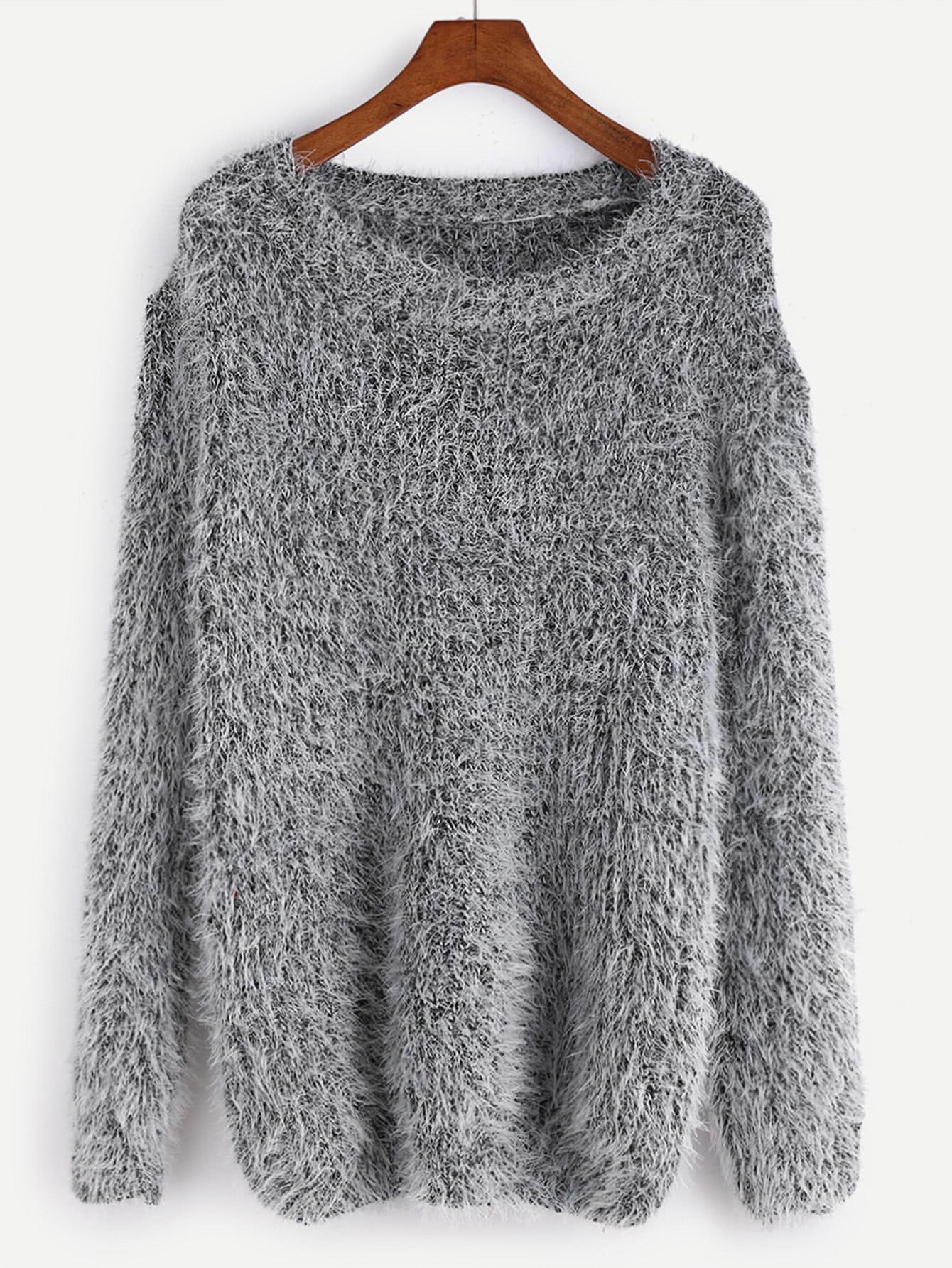Fuzzy Chunky Knit SweaterFor Women-romwe