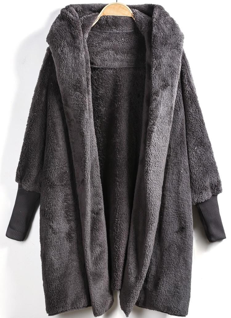 Grey Hooded Long Sleeve Loose Cardigan