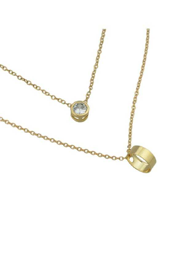Gold Simple Pendant Multi-Layer NecklaceFor Women-romwe