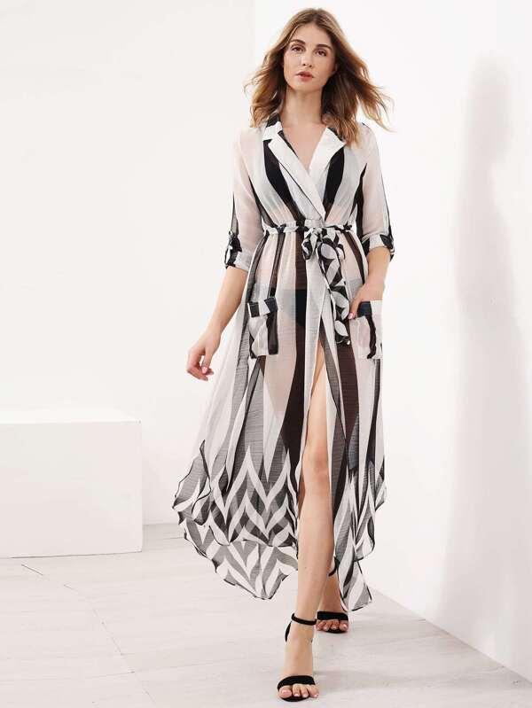 442f3e22af6 Cheap Contrast Striped Slit Side Curved Hem Shirt Dress for sale Australia