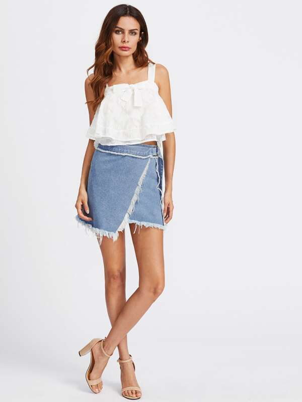 6f871982ba D-Ring Belted Frayed Overlap Denim Skirt | SHEIN