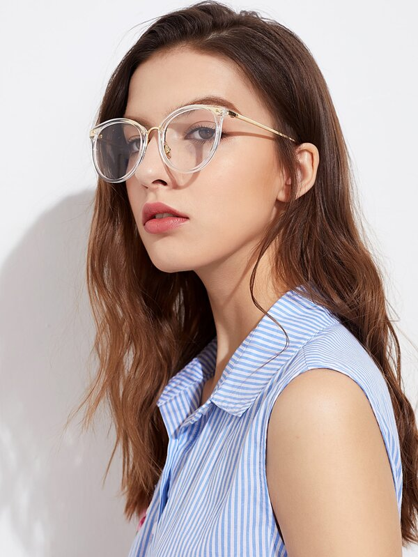 cac8377aa6 Metal Frame Clear Lens Glasses
