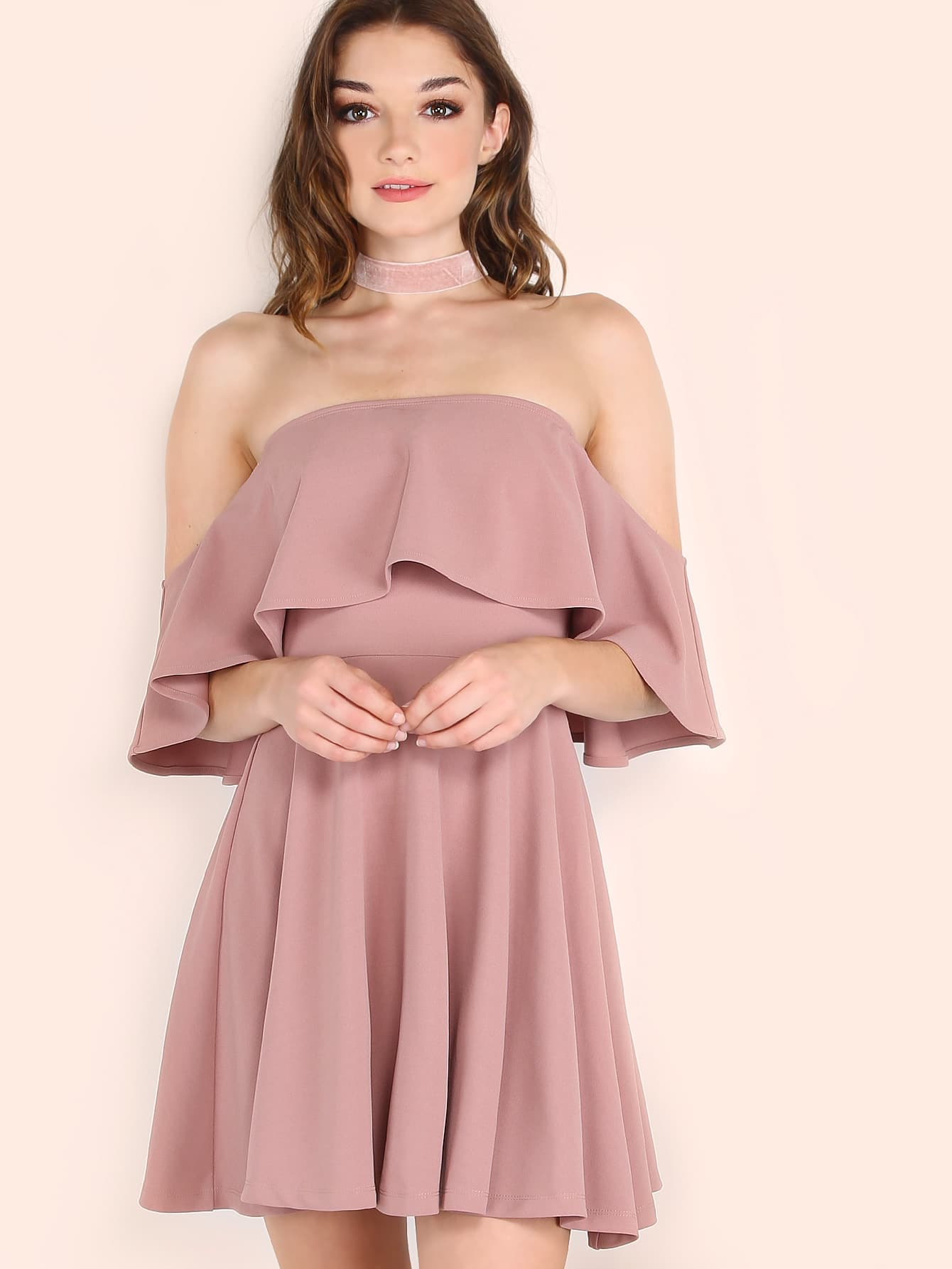 Pink Off The Shoulder Skater Dress EmmaCloth-Women Fast Fashion ... 8b16fee0e6