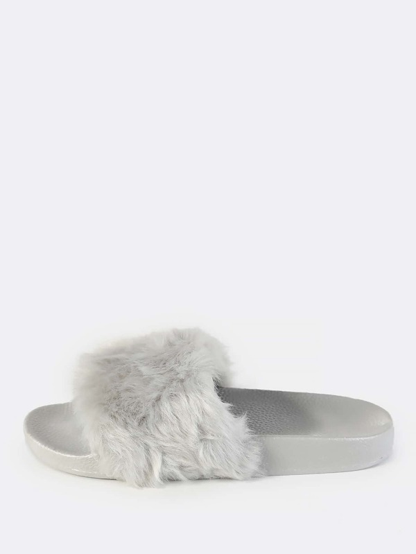 2cf6ed5bc0b2 Cheap Fuzzy Faux Fur Slides GREY for sale Australia