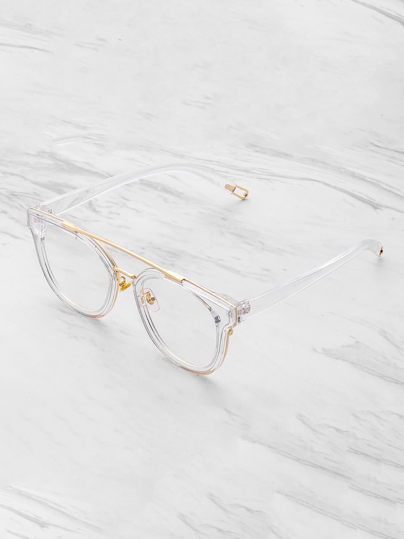 727b407596 Metal Top Bar Clear Frame Glasses EmmaCloth-Women Fast Fashion ...