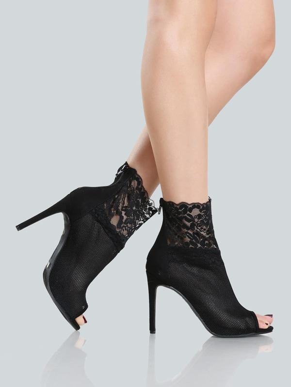 b6318deed Lace Peep Toe Bootie BLACK | SHEIN UK