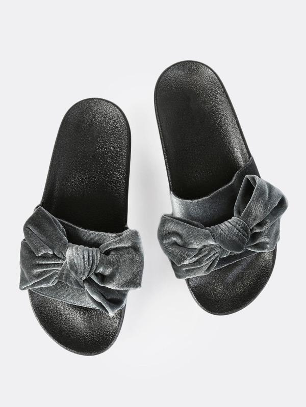 dc5283f8ff95 Velvet Bow Slides GREY