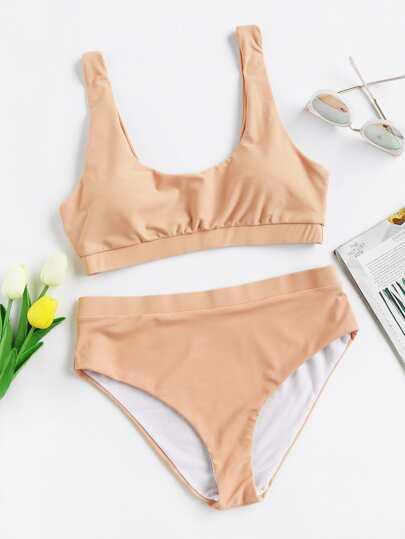 3dc4b2052b00b Double Scoop Neck Bikini Set EmmaCloth-Women Fast Fashion Online