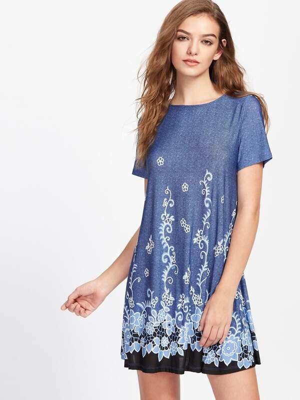 e30410cde74d5 Cheap Vine Flower Print Flowy Dress for sale Australia   SHEIN