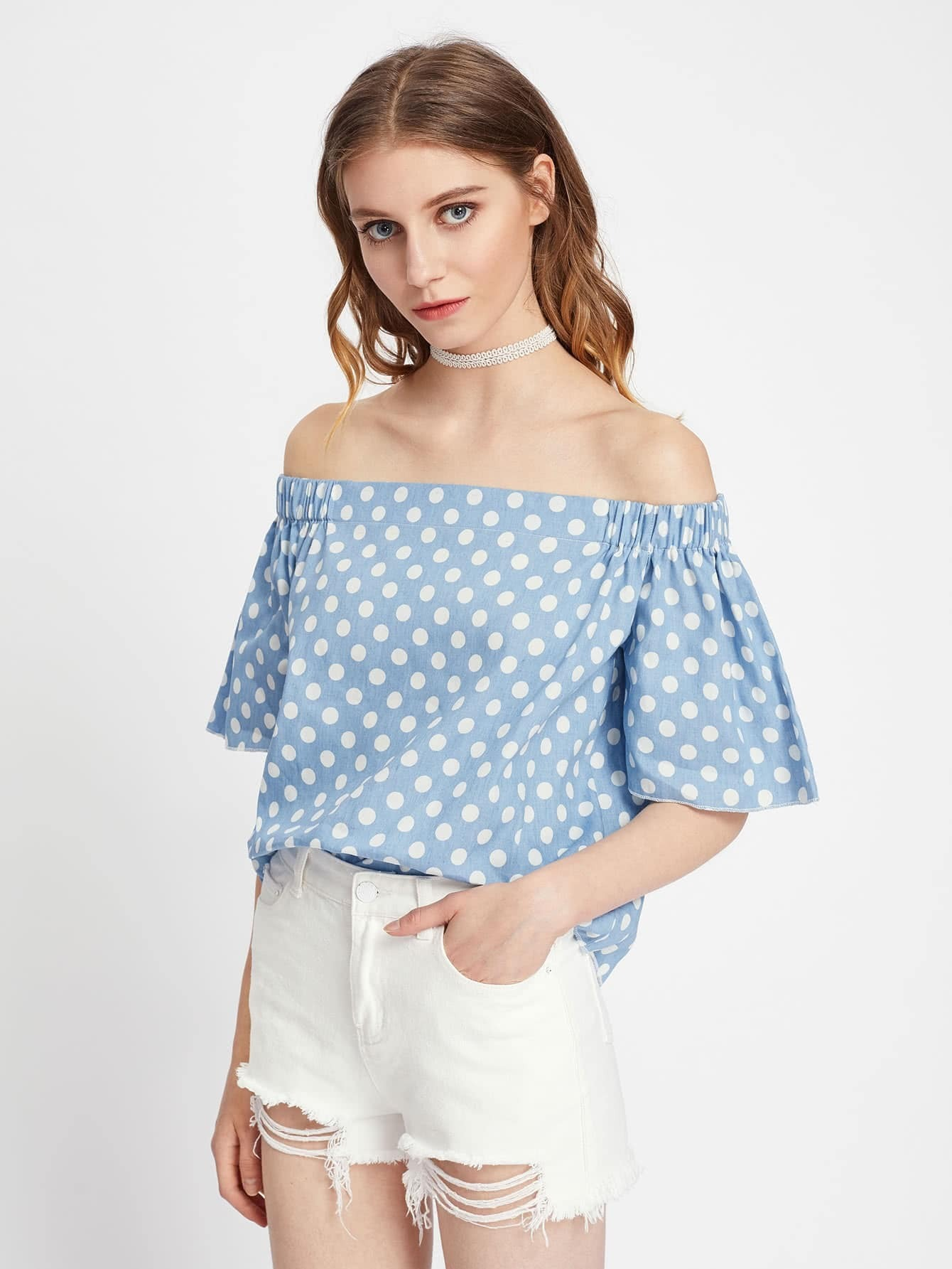 d9efa8dc646ac Off Shoulder Bell Sleeve Polka Dot Top EmmaCloth-Women Fast Fashion ...