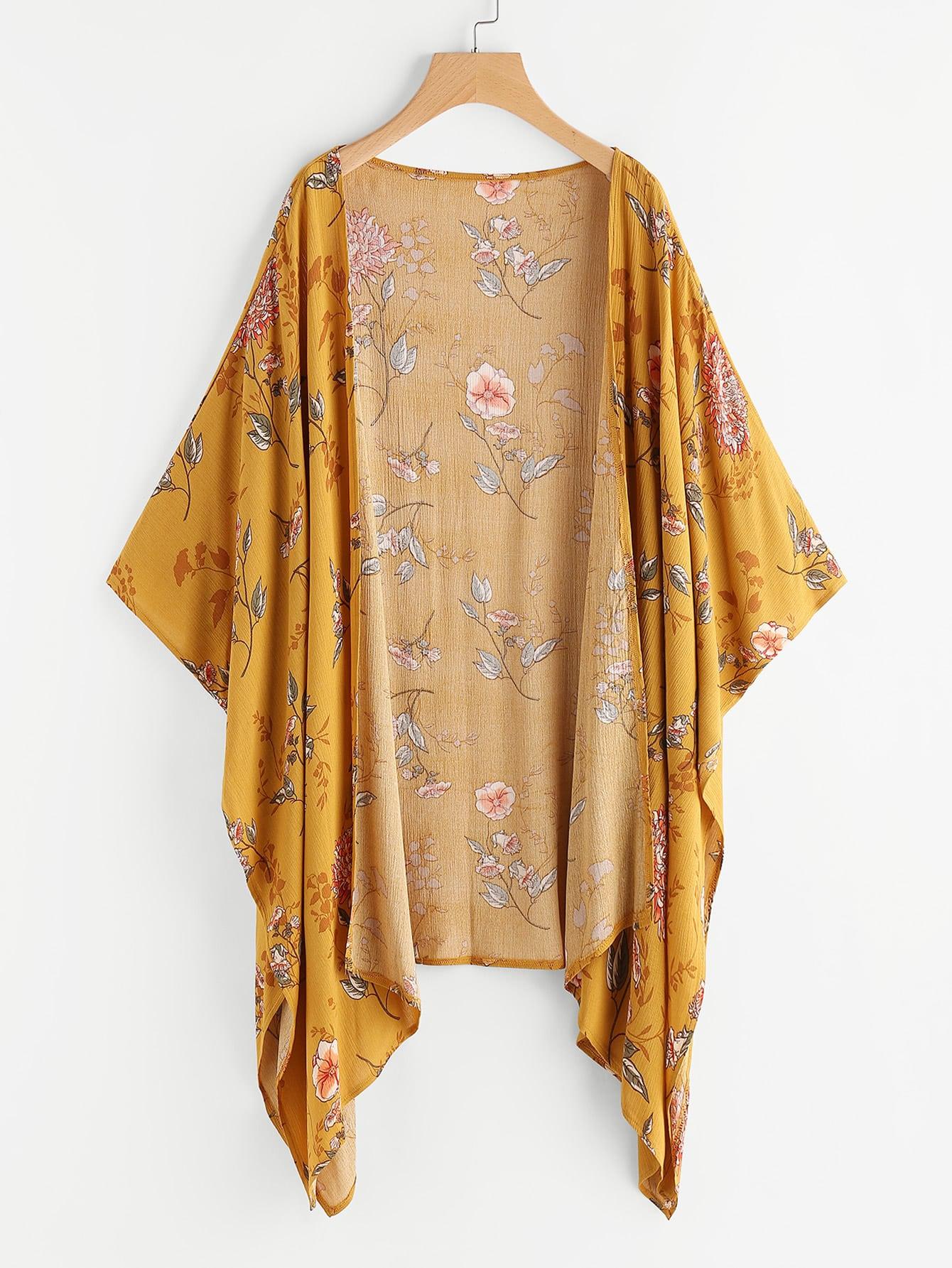 Floral Print Random Asymmetric Hem Kimono Shein Sheinside