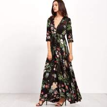 Smocked Waist Button Through Floral Maxi Dress