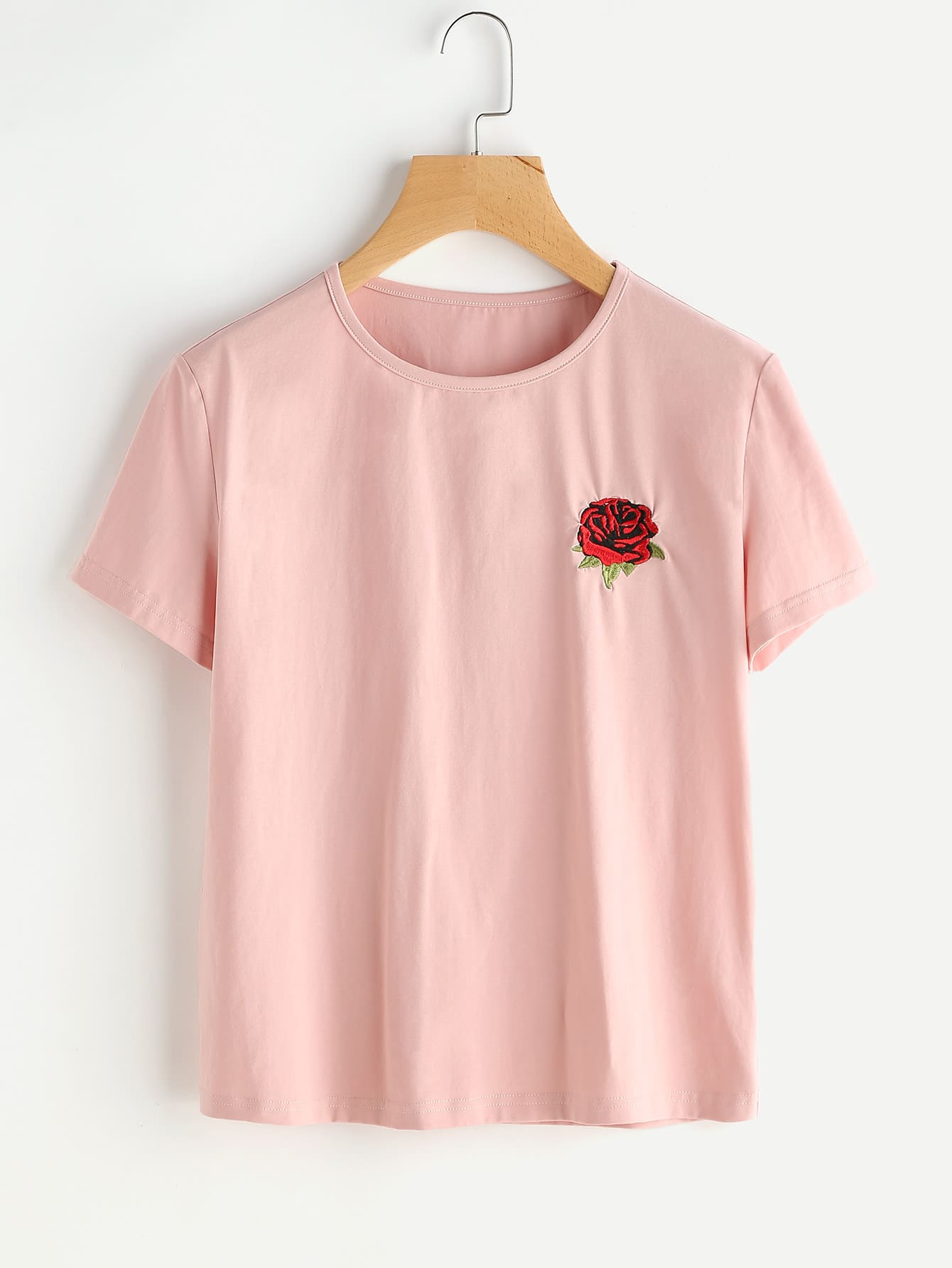 Rose embroidered t shirt shein sheinside for Cheap embroidered t shirts