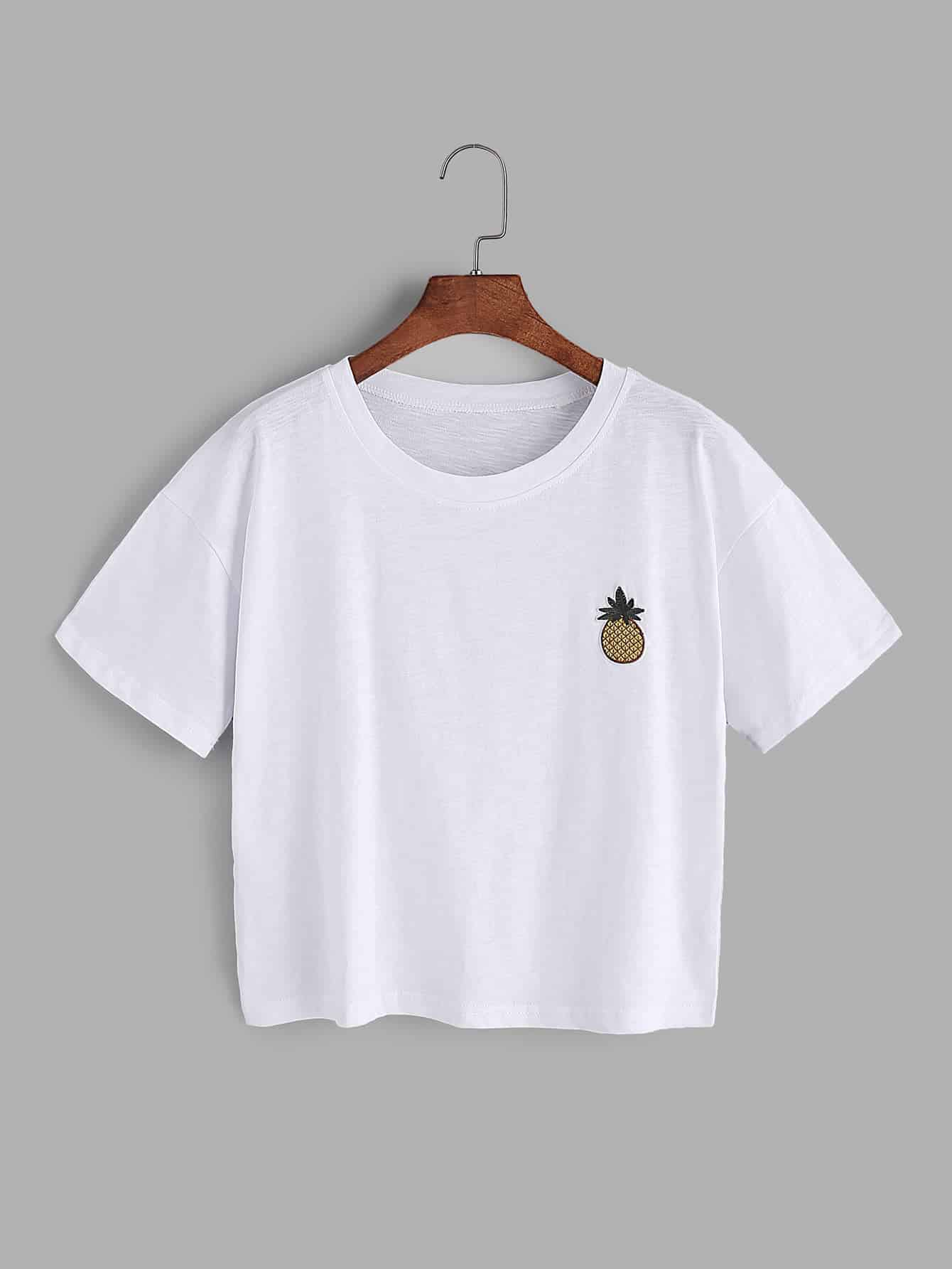 White Pineapple Embroidered Patch T Shirt Shein Sheinside