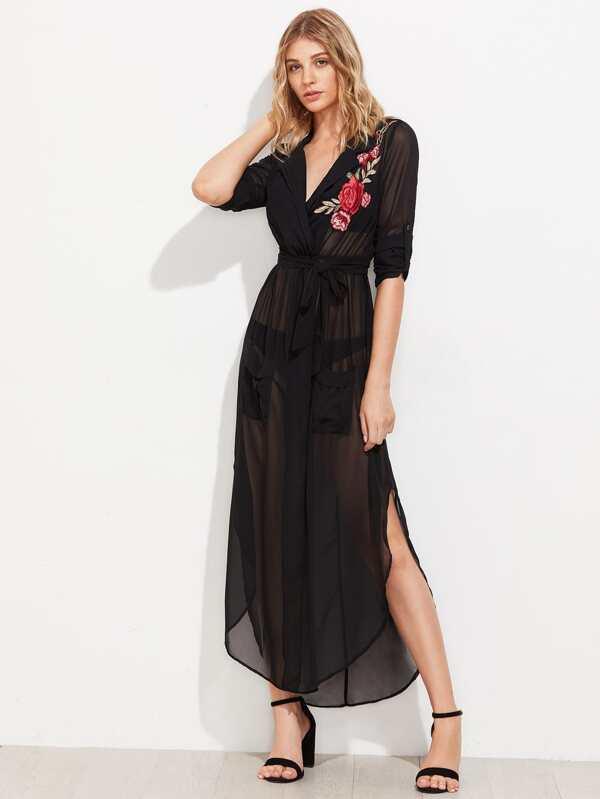 8afd7c57aeb Модное шифоновое платье-рубашка с поясом и вышивкой
