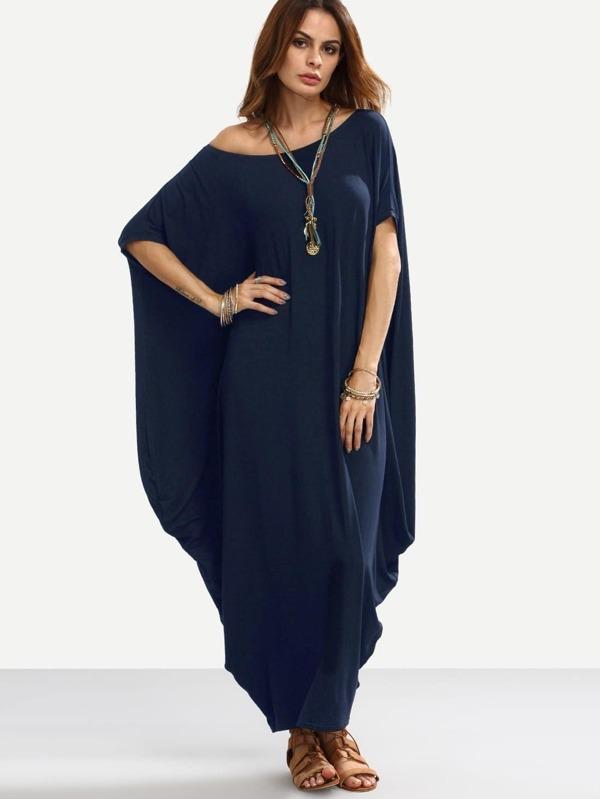 6220a051d7 Asymmetric Shoulder Dolman Sleeve Draped Cocoon Dress